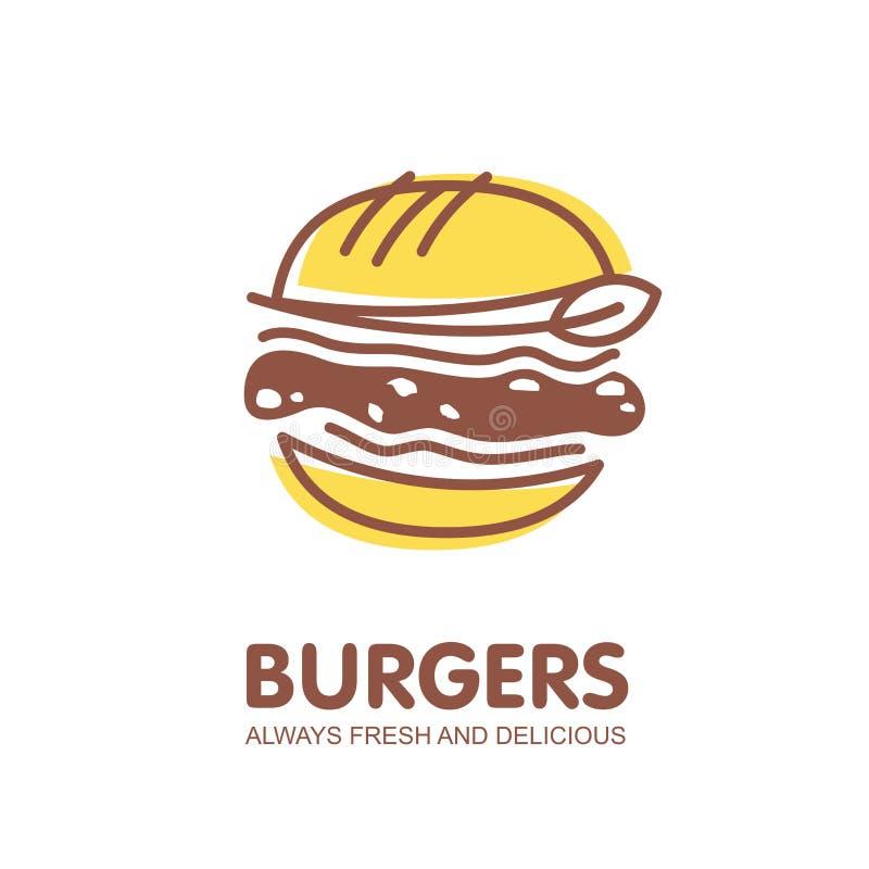 Hamburgeru loga projekt ilustracja wektor