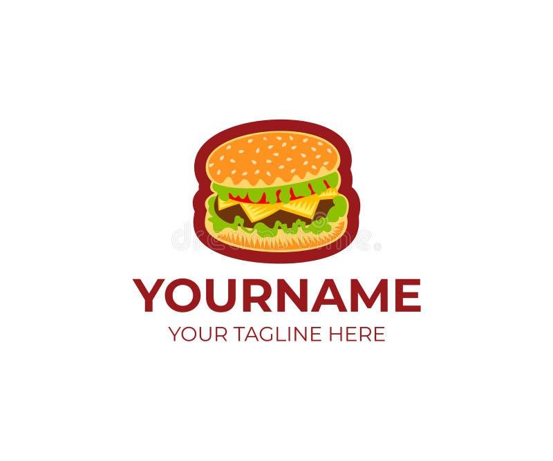 Hamburgeru loga szablon Piec na grillu wołowina hamburger z i hamburger pomidoru, sałaty i sera wektorowym projektem, royalty ilustracja