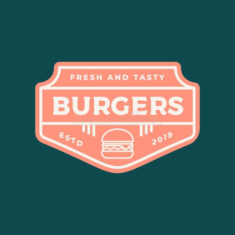 Hamburgeru logo retro projektujący fasta food emblemat, odznaka ilustracja wektor