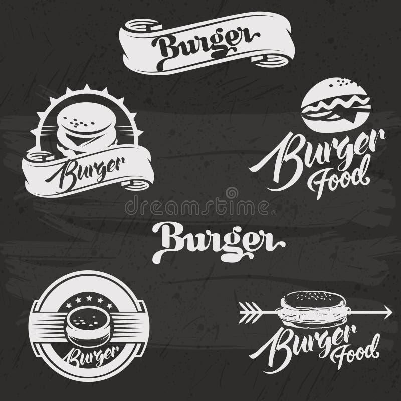 Hamburgeru logo ustawiający w rocznika stylu Retro ręka ilustracja wektor