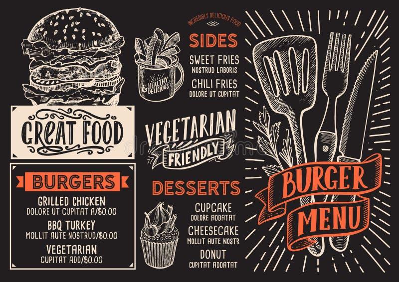 Hamburgeru menu karmowy szablon dla restauraci z doodle pociągany ręcznie ilustracja wektor