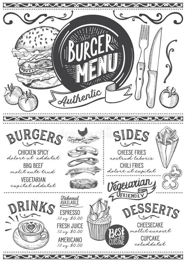 Hamburgeru menu restauracja, karmowy szablon royalty ilustracja