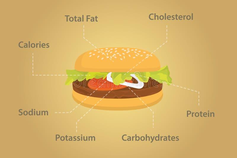 Hamburgeru odżywiania fact szczegóły z mieszkanie stylem ilustracja wektor