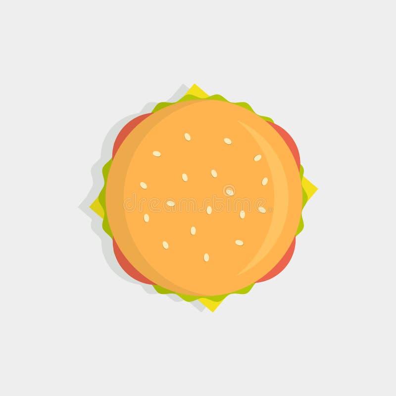 Hamburgeru odgórny widok royalty ilustracja