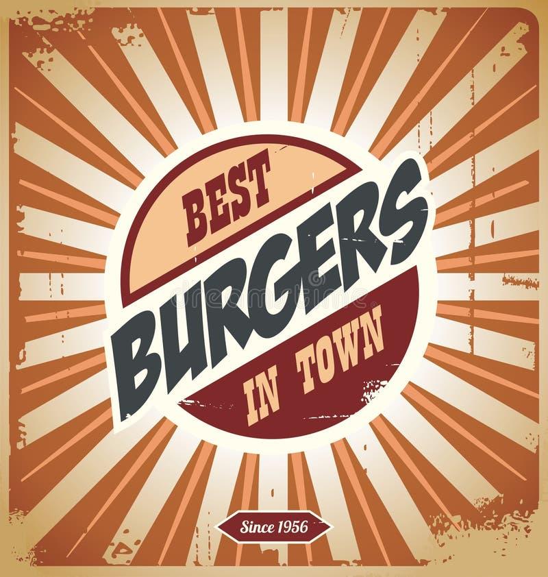 Hamburgeru retro znak royalty ilustracja