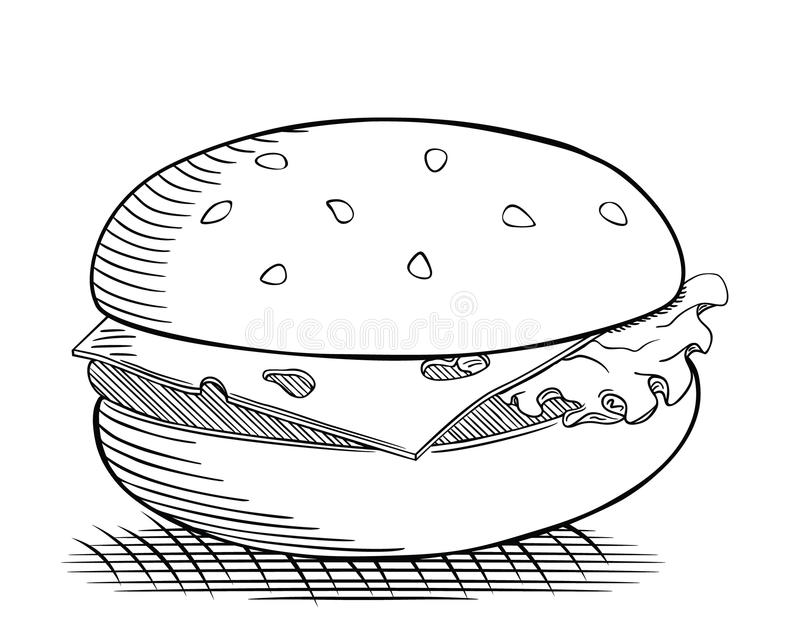 Hamburgeru rysunek royalty ilustracja