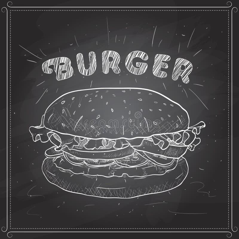 Hamburgeru scetch na czarnej desce ilustracji