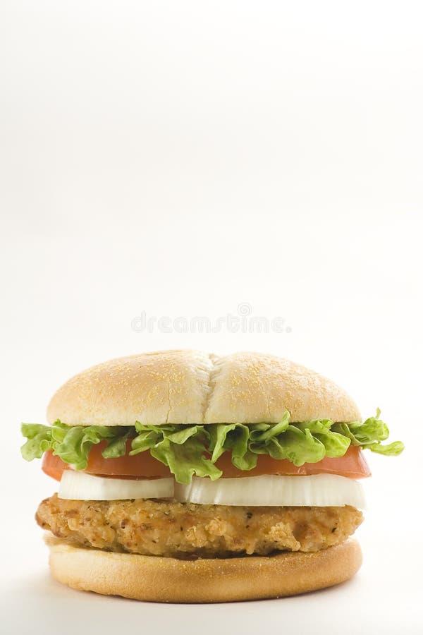 hamburgeru serowego kurczaka chrupiący lett cebuli pomidor zdjęcia stock
