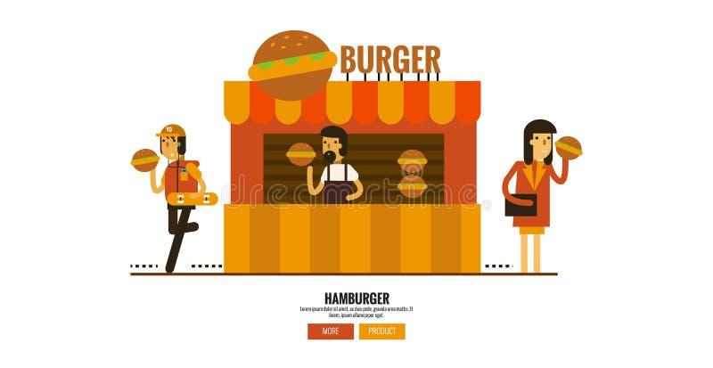 Hamburgeru sklep na ulicie z klientami ilustracja wektor