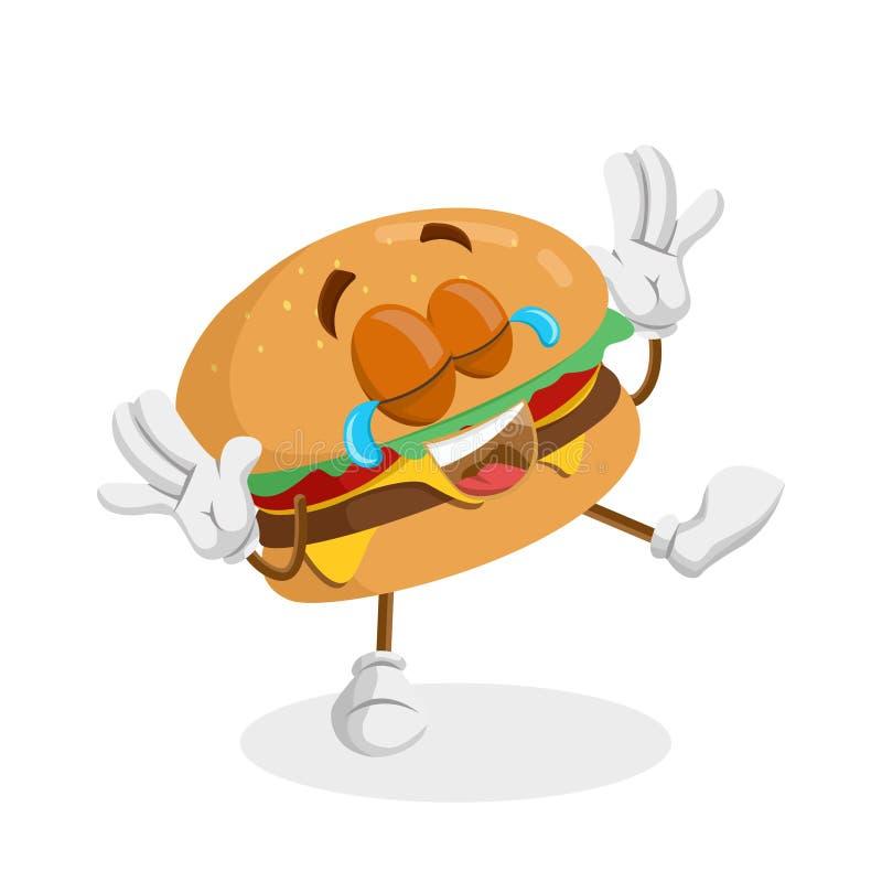 Hamburgeru tła i maskotki szczęśliwa poza ilustracji