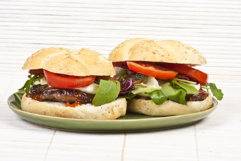 hamburgeru talerz obraz royalty free