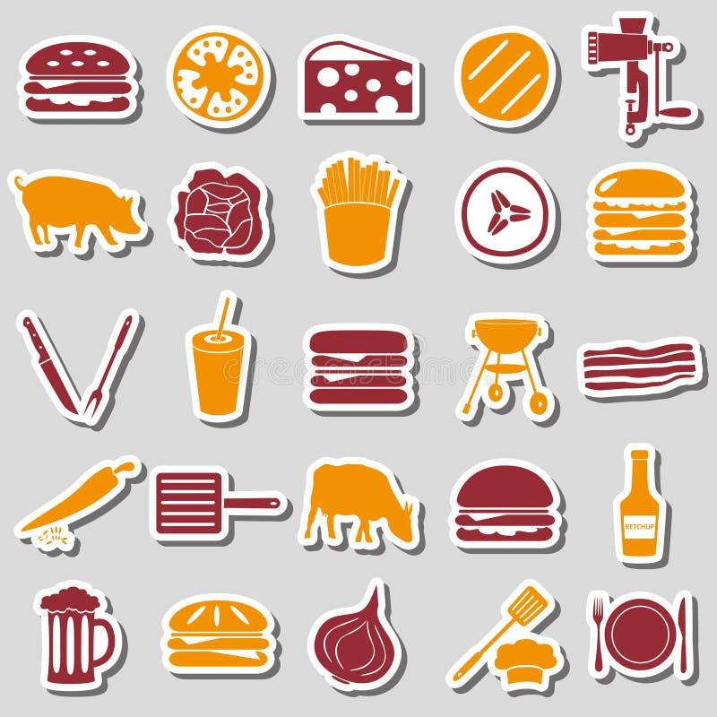 Hamburgeru tematu nowożytne proste ikony barwią majcherów eps10 ilustracji