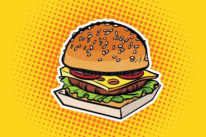 Hamburgeru wystrzału sztuki ilustracja royalty ilustracja