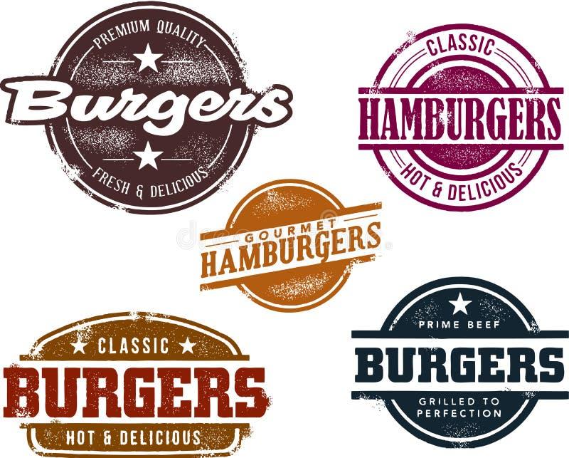 hamburgeru znaczków stylowy rocznik ilustracja wektor