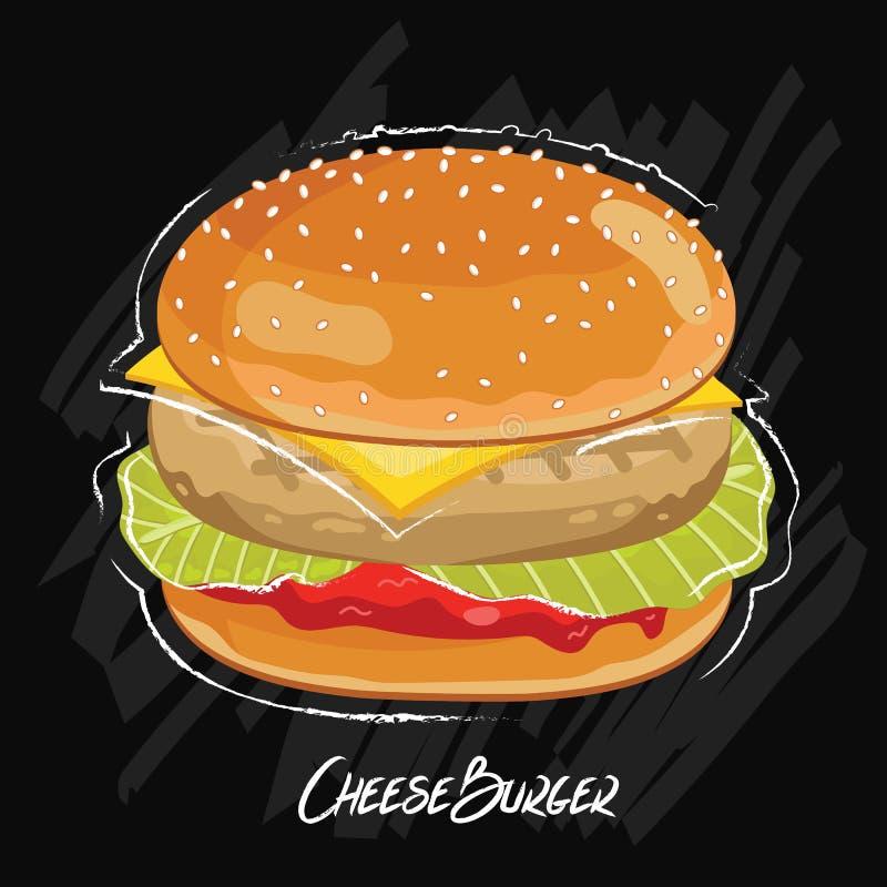 Hamburgervector op zwarte achtergrond wordt geïsoleerd die stock illustratie