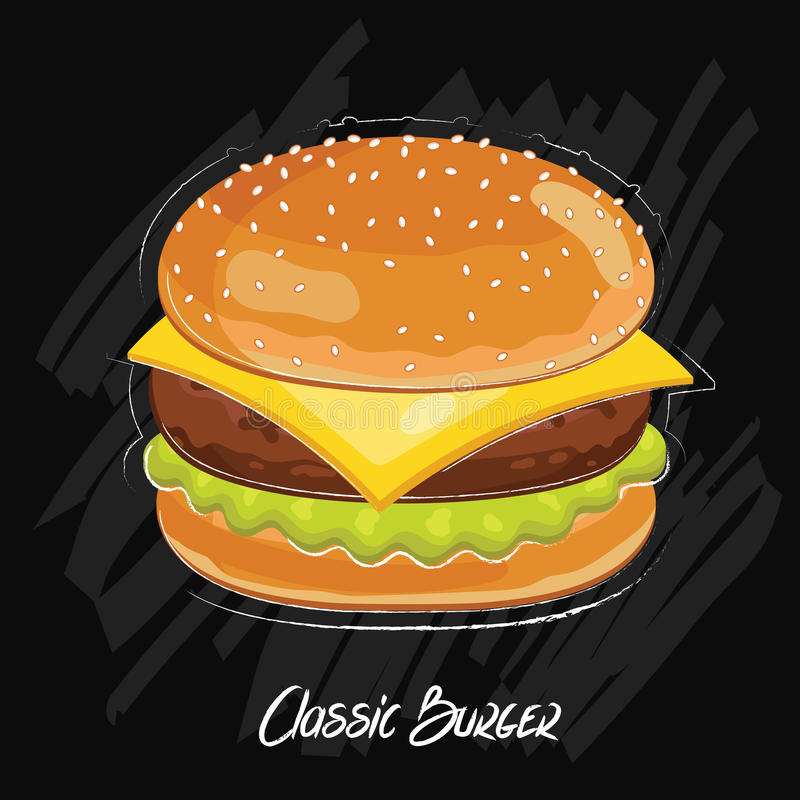Hamburgervector op zwarte achtergrond wordt geïsoleerd die royalty-vrije illustratie