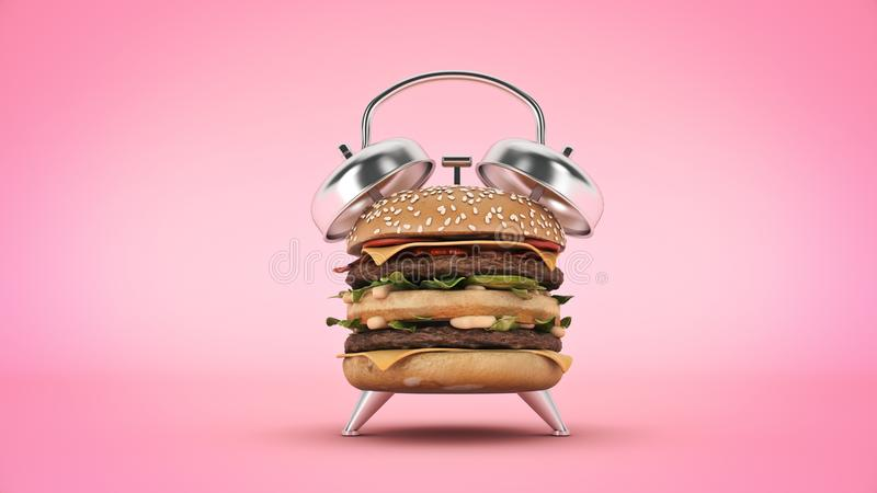 Hamburgerwekker het 3d teruggeven royalty-vrije illustratie