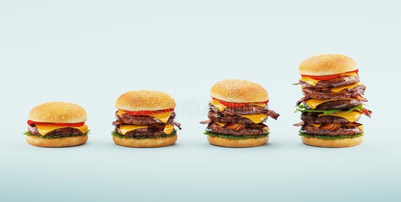 hamburgery Fast food diety pojęcie, Kompulsywny przejadać się i dieting, ?wiadczenia 3 d ilustracja wektor