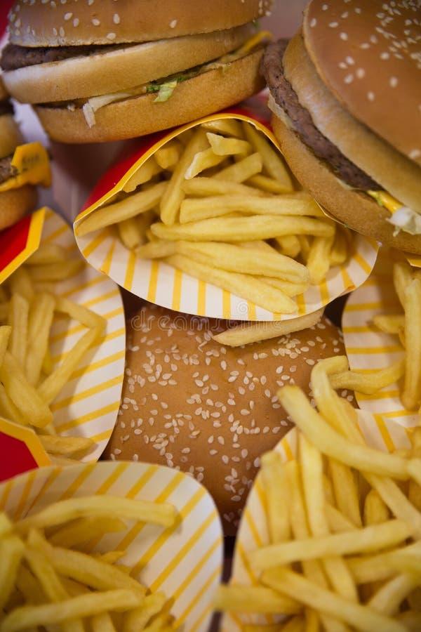 Hamburgery i dłoniaki zdjęcia stock
