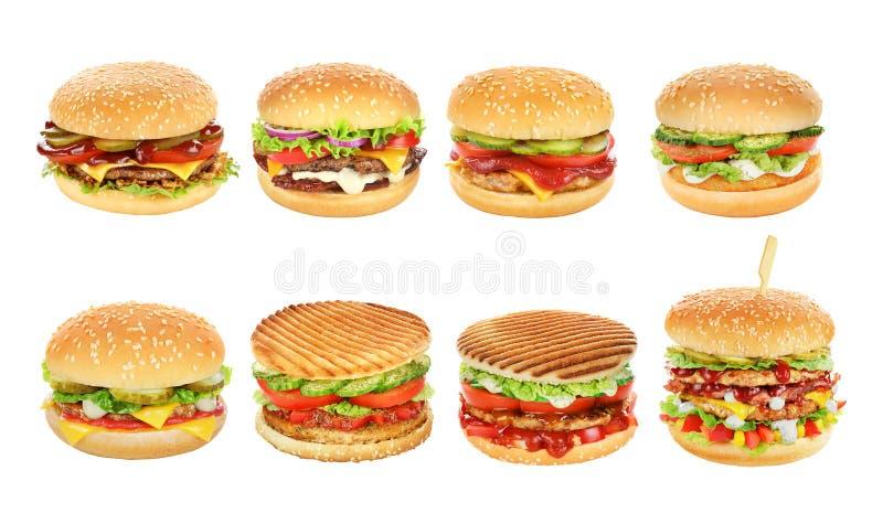 Hamburgery ustawiający odizolowywającymi obrazy stock