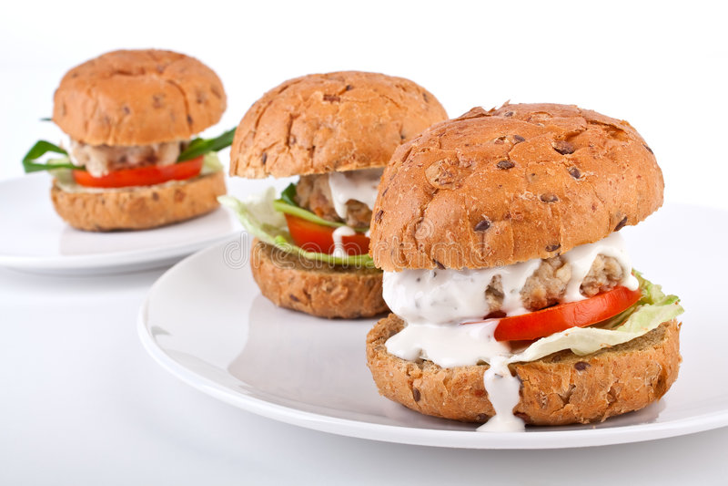 hamburgery zdrowi trzy fotografia stock