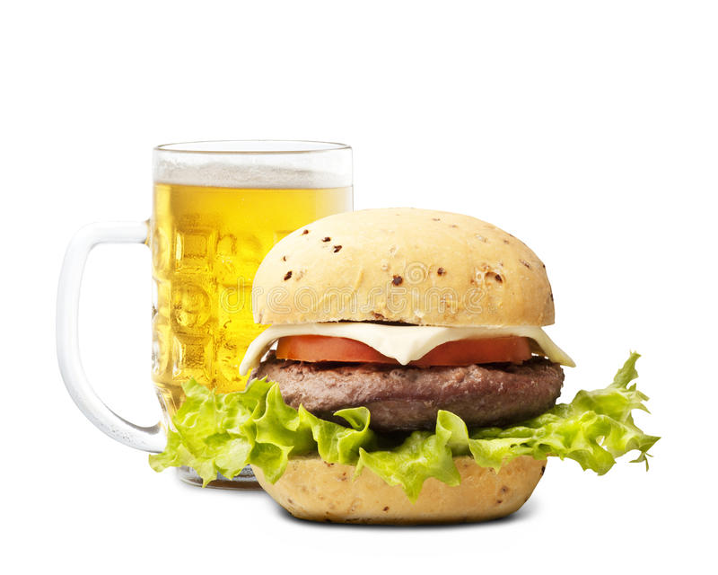 Hamburgher and beer royalty free stock photos