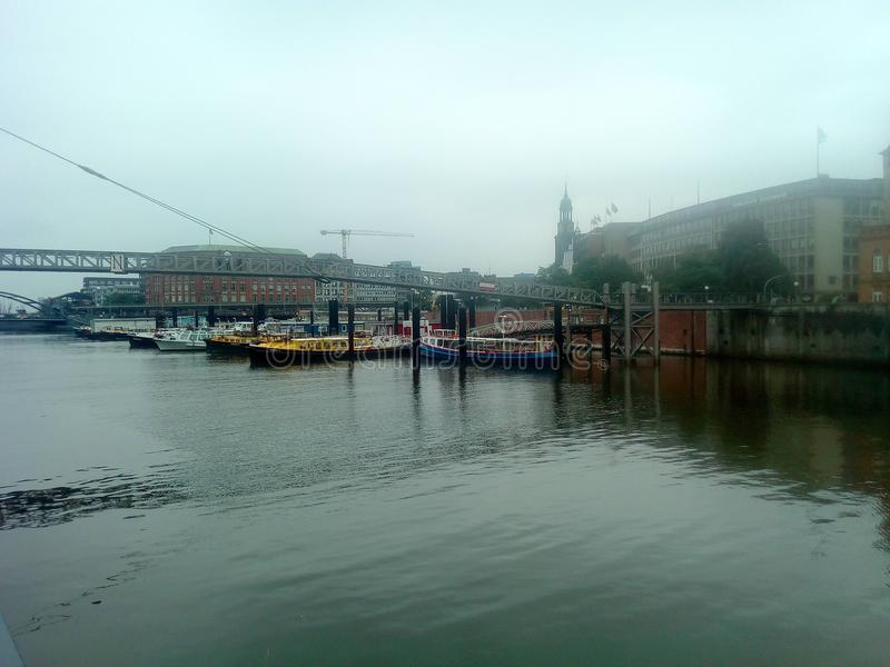 Hamburgo na manhã imagens de stock