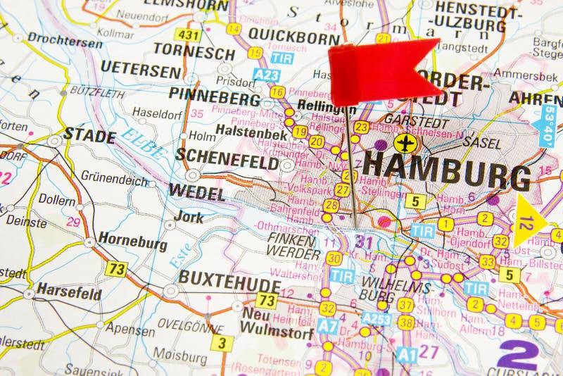 Hamburgo no mapa de Alemanha imagem de stock