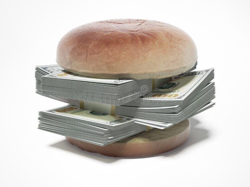 Hamburguer com notas de dólar ilustração do vetor