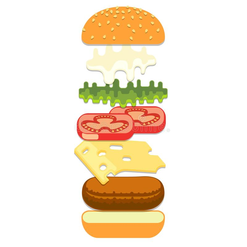 Hamburguer com queijo, café do fast food da rua ilustração royalty free