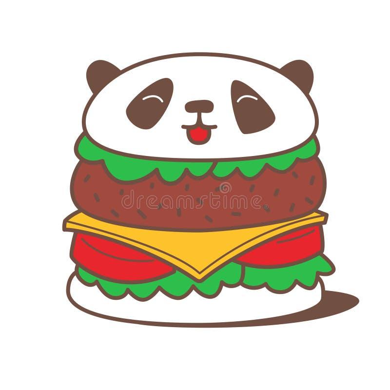 Hamburguer da panda de Kawaii ilustração do vetor