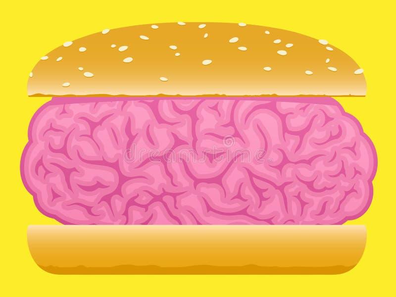 Hamburguer do alimento do cérebro ilustração royalty free