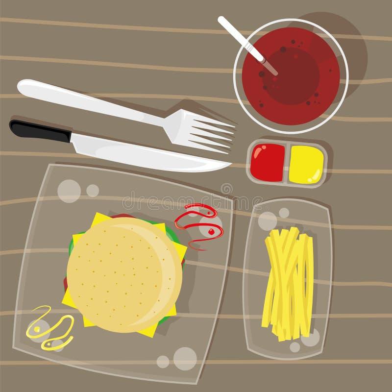 Hamburguer do queijo, batatas fritas e bebida da cola ilustração royalty free