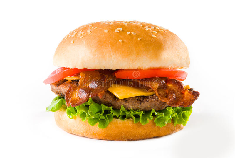 Hamburguer do queijo do bacon imagem de stock royalty free