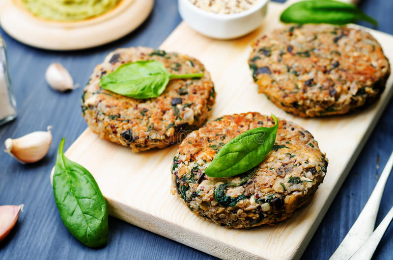 Hamburguer dos grãos-de-bico dos espinafres da beringela do quinoa do vegetariano fotografia de stock