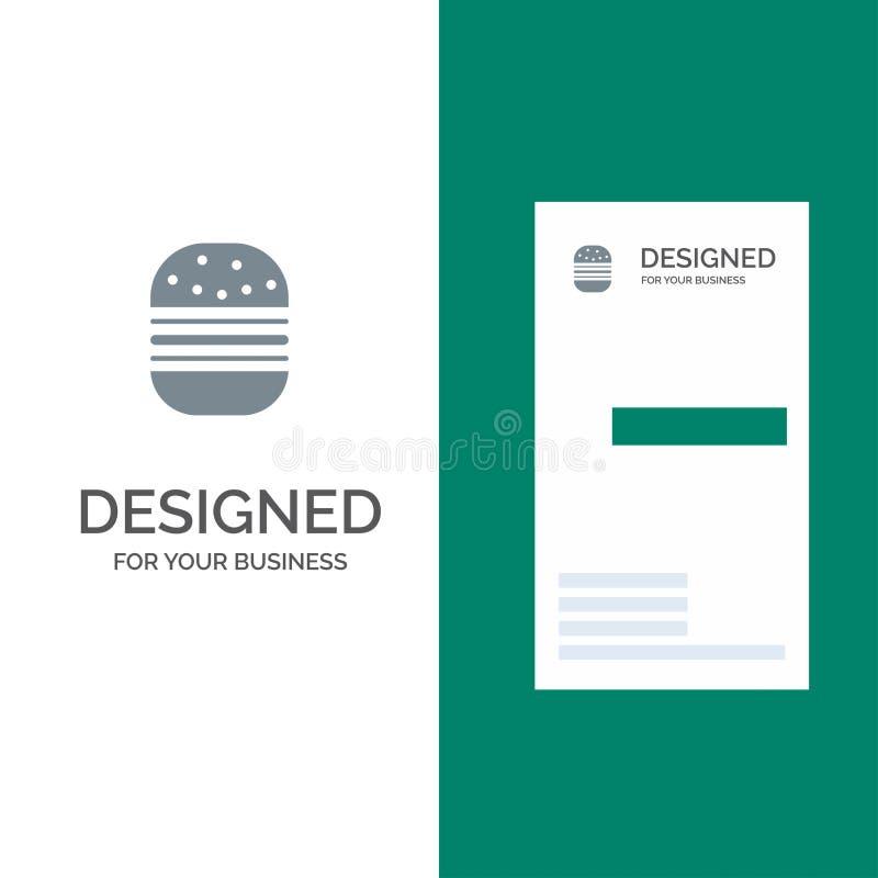 Hamburguer, fast food, rápido, alimento Grey Logo Design e molde do cartão ilustração stock