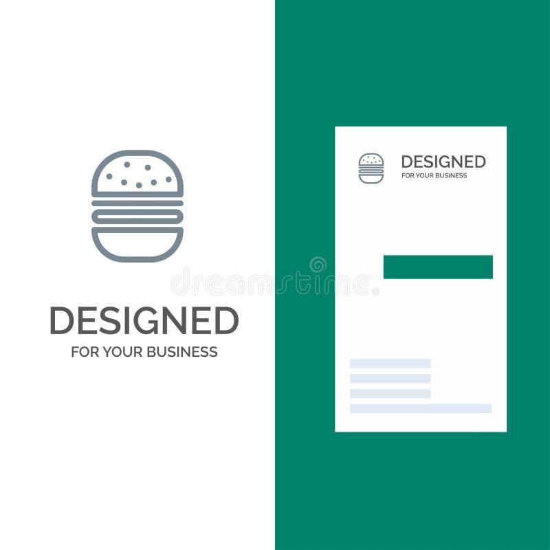 Hamburguer, fast food, rápido, alimento Grey Logo Design e molde do cartão ilustração do vetor