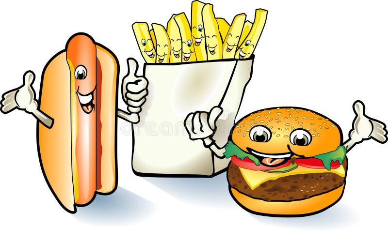 Hamburguer feliz, Hotdog ilustração stock