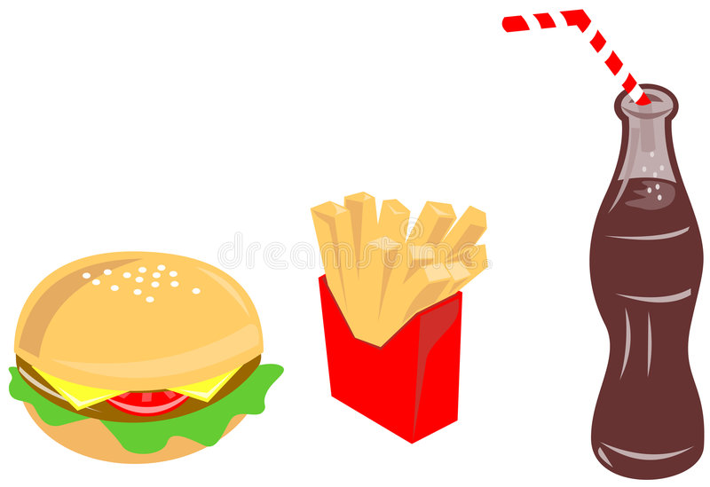 Hamburguer, fritadas e bebida ilustração royalty free