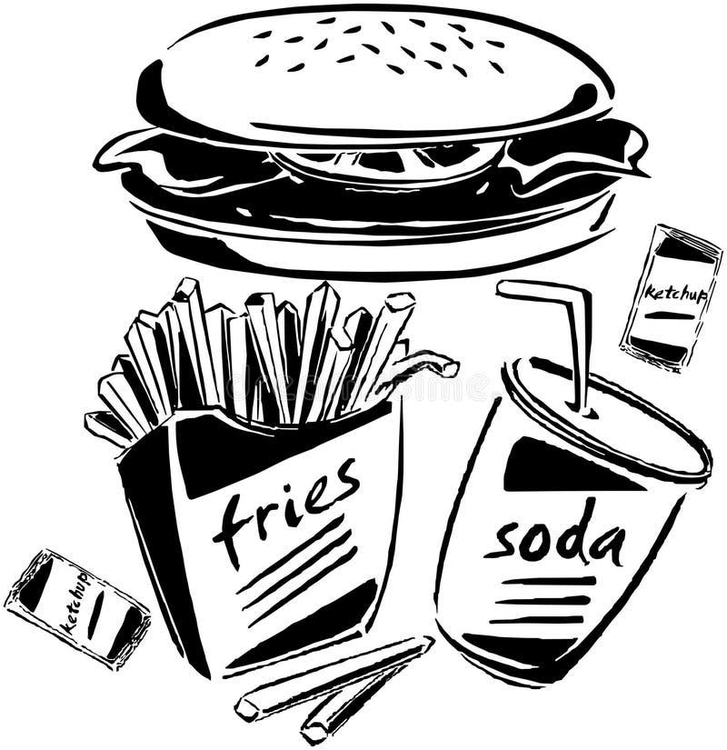 Hamburguer, fritadas & soda ilustração stock