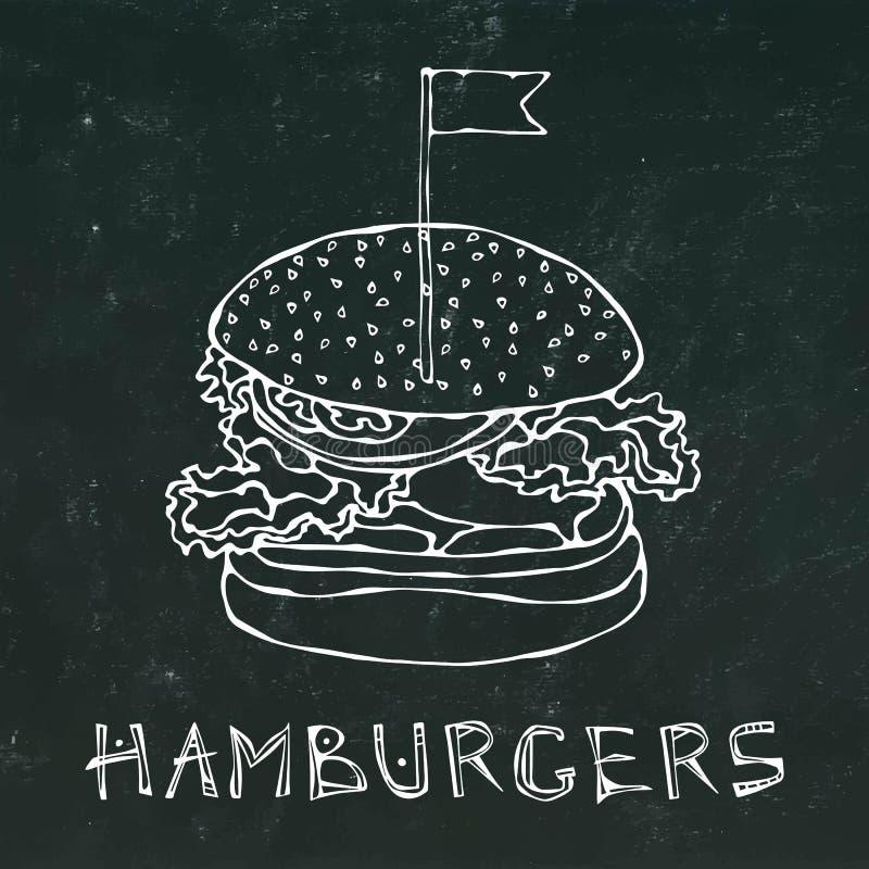 Hamburguer grande com bandeira Rotulação do Hamburger Isolado em um fundo preto do quadro Estilo realístico dos desenhos animados ilustração do vetor