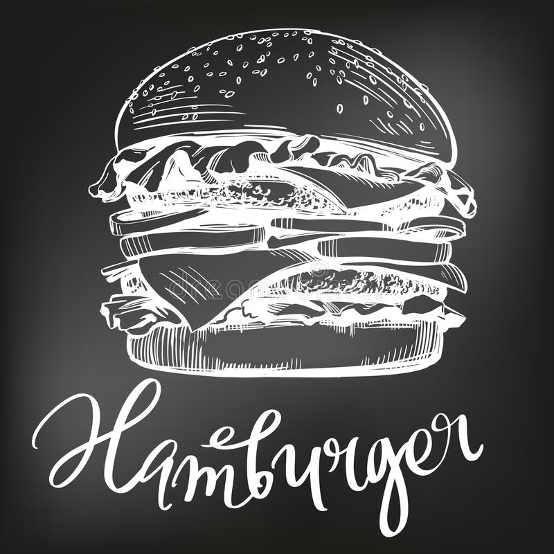 Hamburguer grande, esboço tirado mão da ilustração do vetor do Hamburger menu do giz Estilo retro ilustração stock