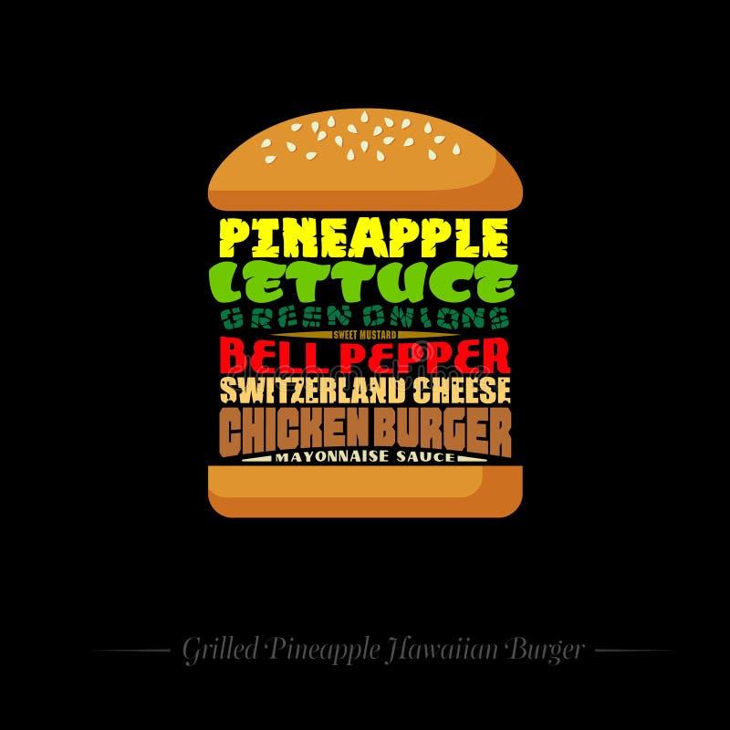 Hamburguer grelhado do Hawaiian do abacaxi Receita infographic Composição das palavras lettering ilustração stock
