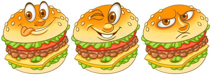 Hamburguer hamburger cheeseburger Conceito do fast food ilustração royalty free