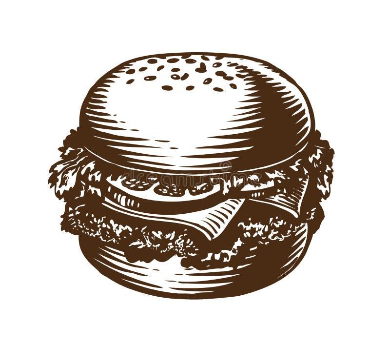 Hamburguer, Hamburger, cheeseburger Ilustração americana do vetor do esboço do fast food ilustração do vetor