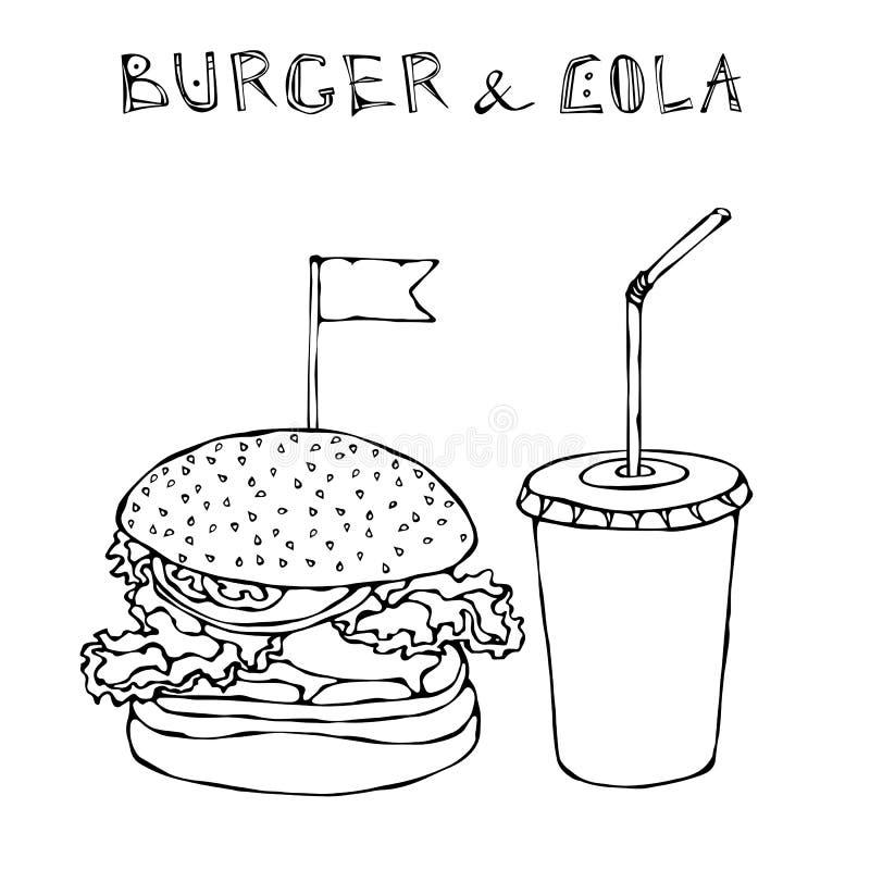 Hamburguer, Hamburger ou cheeseburger e soda ou cola grande do refresco Ícone para viagem do fast food Sinal do alimento afastado ilustração stock