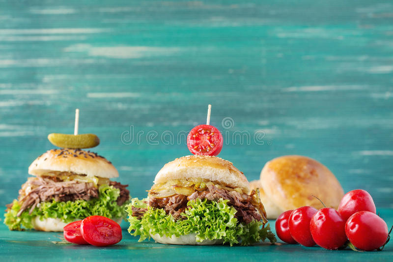 Hamburguer puxado da carne de porco foto de stock royalty free