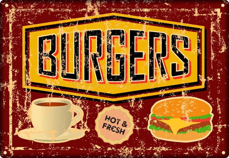 Hamburguer retro do Grunge, Hamburger, sinal da lata do jantar, advertis do vintage ilustração do vetor