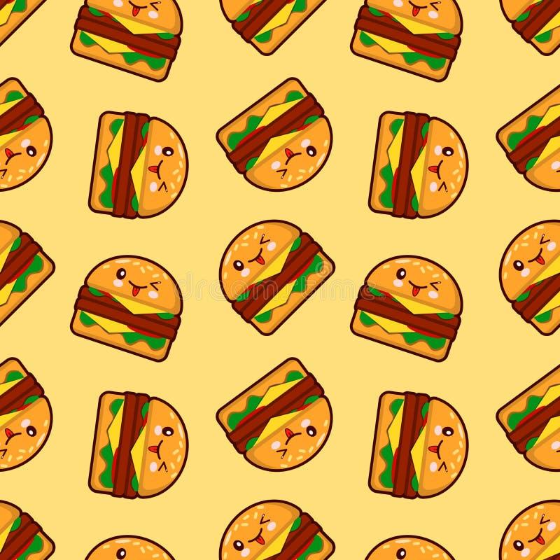 Hamburguer, teste padrão sem emenda do vetor com caráteres bonitos do fast food no fundo pontilhado ilustração stock
