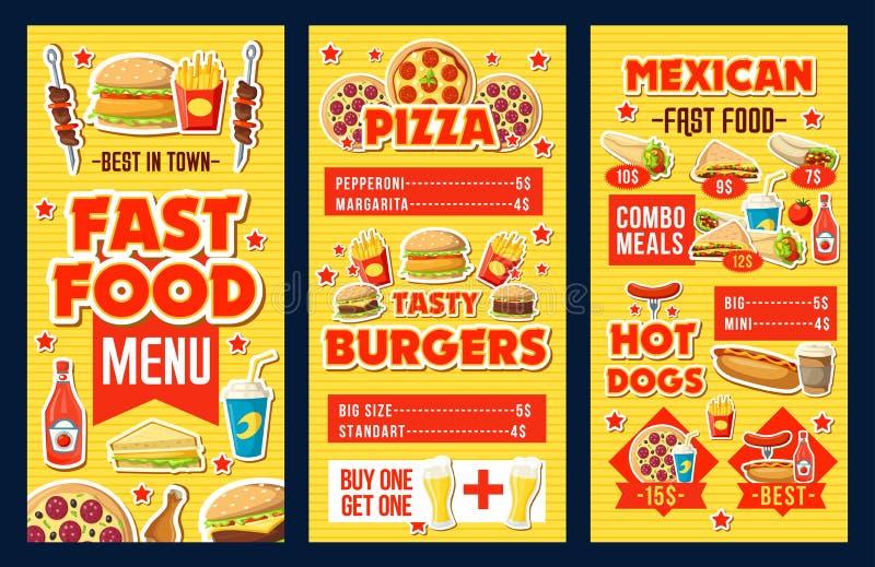 Hamburgueres do fast food, pizza e dólar do menu dos cachorros quentes ilustração royalty free